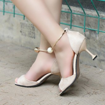 HengSong Summer Ladies Fashion Shallow Mouth Fish Mouth High-heeled Shoes Pearl buckle Sandals(Beige) - intl - 5