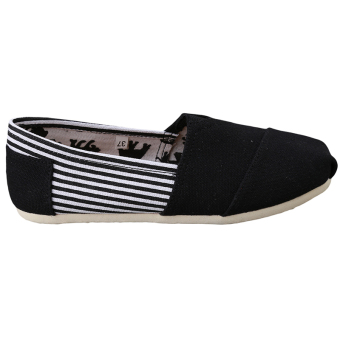 HengSong Tom Thomas Canvas Shoes Stripe Flat Casual Shoes Couple Lover Shoes Black - Intl - 2