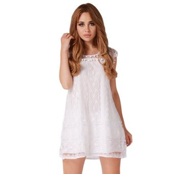 HengSong Women Fashion Lace Dress Skirt White