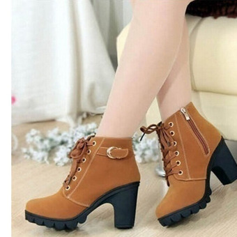 HengSong Women Thick PU Leather High Heel Martin Ankle Zipper Boots Yellow - 4