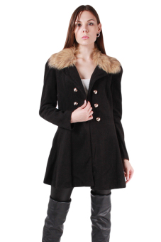 HengSong Wool Collar Double Row Buttons Woolen Cloth Coat Black