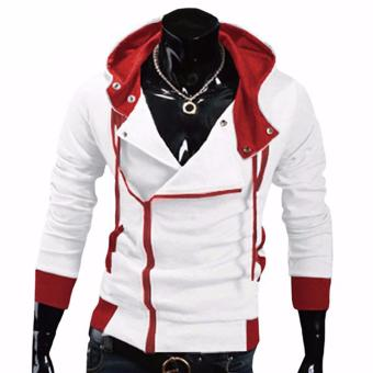 Hequ Aliexpress explosion of Assassin s Creed sweater obliquezipper hooded jacket men s W20 White - intl