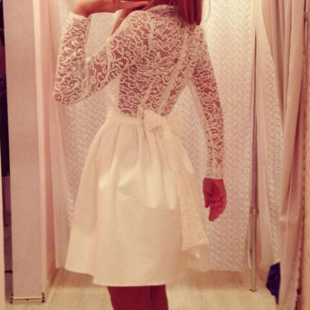 Hequ Fashion Lace Stitching Long Sleeve A-line Dress White - intl
