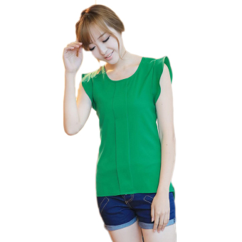 Hequ Flounced Sleeve Office Lady Chiffon Blouse (Green) - picture 2
