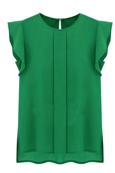Hequ Flounced Sleeve Office Lady Chiffon Blouse (Green)