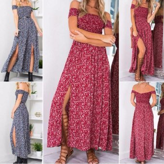 Hequ Hot High Fashion Vintage Floral Bohemian Style Women Summer Holiday Beach Party Printed Elegant Maxi Dresses Blue - intl - 3