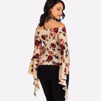 Hequ Off-Shoulder Long Sleeve Tops Shirt with Choker Apricot - intl - 4