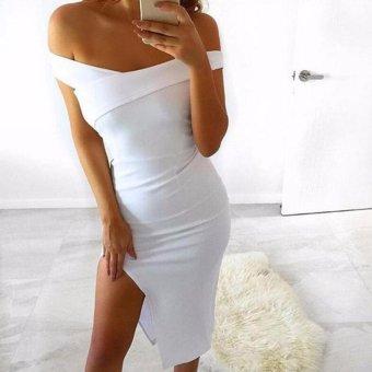 Hequ Salemor Women's Hanging Arm Tube Top Long Dress White - intl - 3