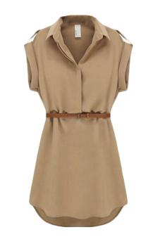 Hequ Short Sleeve Dress With Belt (Kahki)