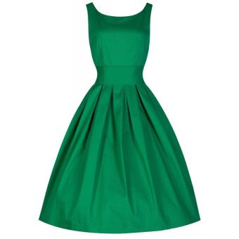 Hequ Vintage Hepburn Wind Waist Thin Fluffy Dress (Green)