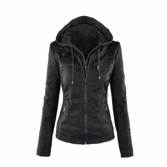 Hequ Women Fashion Autumn Winter Coat Jacke Long Sleeve Zipper Removable Hooded Leather Jackets Motorcycle Coat Outerwear Black - intl - 2