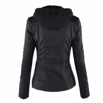 Hequ Women Fashion Autumn Winter Coat Jacke Long Sleeve Zipper Removable Hooded Leather Jackets Motorcycle Coat Outerwear Black - intl - 3