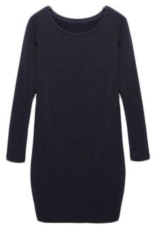 Hequ Women Sheath Warm Casual Dresses (Blue)