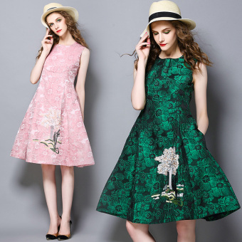 High-end European and American Jacquard embroidery expandable dress Dress medium-length dress (Green)