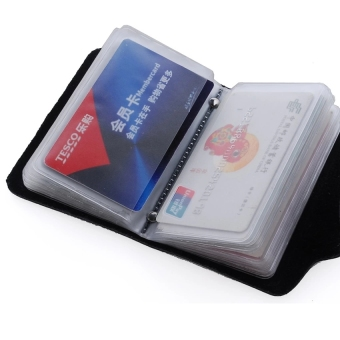 High Quality PU Security Credit Card Wallet with 26 Card Slots(Black) - intl