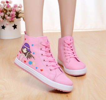 High-top flat big boy shoes (Pink small girl)
