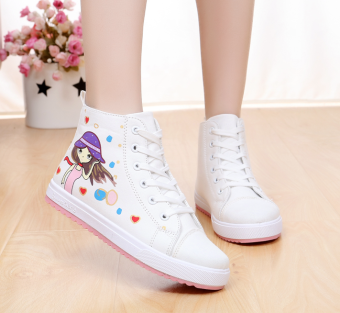 High-top flat big boy shoes (White small girl)