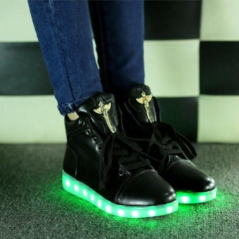 High Top New Unisex colorful LED Light Lace-Up USB Luminous Shoes Flashing Fashion Shoes Boots Black - intl - 3