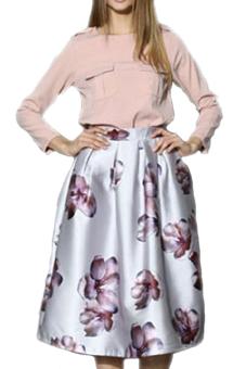 High Waist Big Flower Print Pleated Swing Skirt (White)