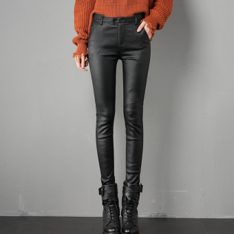 High-waisted stretch long leather pants (Black)