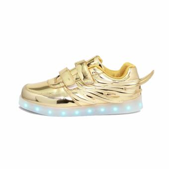 Hk Bubugao 1133 Fashion LED Lightning Unisex Sneaker Shoes (Gold Eagle) - 3