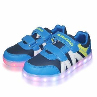 Hk Bubugao 5957A Deluxe Fashion Sports Dancing LED Lightning Boy's Sneakers Shoes (Blue) - 3