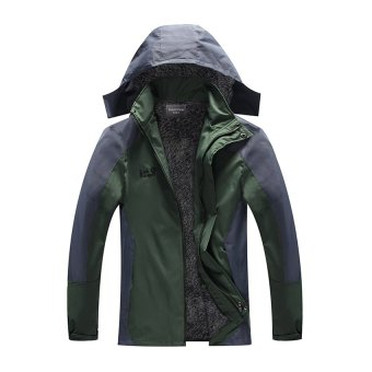 HKS Plus Thick Velvet plus Cotton Mens Sports Jacket Outdoor Ski Mountaineering Cold and Warm Clothes Coat Jacket Coat Thick Section Grayish Black -4XL - Intl - picture 2