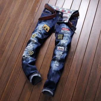 Hole patches of jeans Men Jeans Ripped Slim Fit Hip Hop Denim Trousers Men`s Jeans High Quality Motorcycle Pants Punk Homme- Dark blue - intl