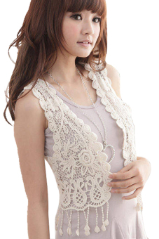 Hollow-Out Lace Tops Blouse Vest Short Crochet Waistcoat (White)