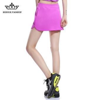 Honour Fashion Women's Flat Tennis Skort Hugging Skirt Purple hf04- intl - 2