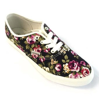 HOOKUP Men's Floral Shoes (Black)