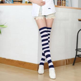 Hot Sale 12 Pair of Colorful Fashion Girls Ladies Women Sexy Thigh High Over The Knee Socks Long Cotton Striped Stockings - intl - 4