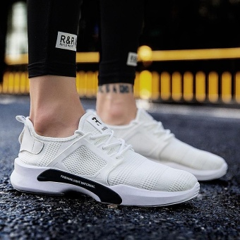 Hot Sale New Style Fly Weave Lower-Cut Running Shos Simple FashionPure Color Athleisure Walking Shoes for Man (white) - intl - 3