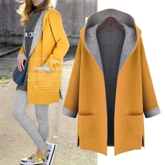 Hot Sale Women Lady Thicken Warm Winter Trench Hooded Coat Parka Overcoat Plus-size Long Jacket Outwear with Cap Yellow - intl