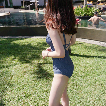 Hot Spring denim color sexy sling piece swimsuit