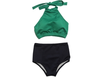 Hot Spring New style split high collar elegant swimsuit (Top green) (Top green)