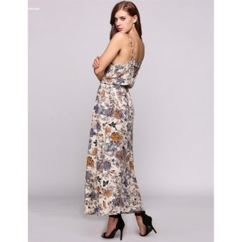 HYX HOT SALE!!!Women Elegant Spaghetti Strap Print Boho Styles Maxi Beach Casual Dress - intl - 5
