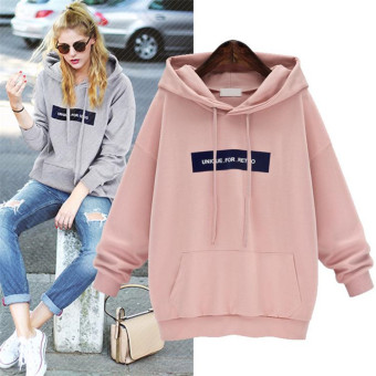 I Korean-style spring mid-length hooded pullover hoodie (Pink)