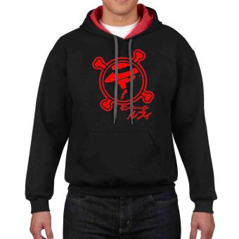iGPrints One Piece Anime Luffy Japanese Design Contrast HoodieJacket (Black/Red)