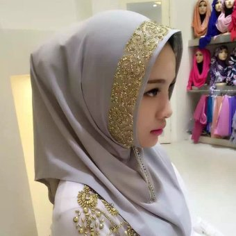 Harga New Luxury Brand Scarf For women Islamic Muslim Inner Hijab Caps Diamond Scarves Solid Head Wrap (grey) - intl