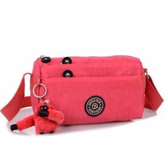 Harga Skadi JQE-612 Korean Fashion Bag Nylon Waterproof Mini Size Multi-pocket Mini Bag Crossbody Shoulder Sling Bag Best Gift With Free Bag Charm(Watermelon Red)