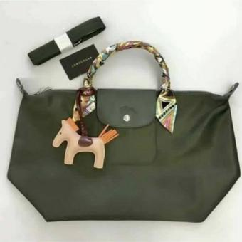 Harga Longchamp Le Pliage Neo Small Free Twilly & Charm Original (LODEN) Made in France SHORT HANDLE