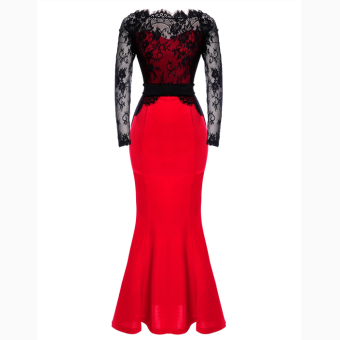 Toprank Cyber Maxi Long Dress (Black/Red) - intl Price Philippines
