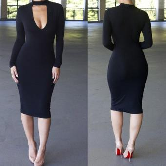 Jo.In Women Fashion Sexy Slim Long Sleeve Key Hole Solid Bodycon Pencil Cocktail Evening Party Short Dress - intl Price Philippines