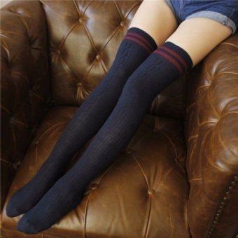 Harga Women Girls Knit Cotton Over Knee Thigh Stockings High Socks