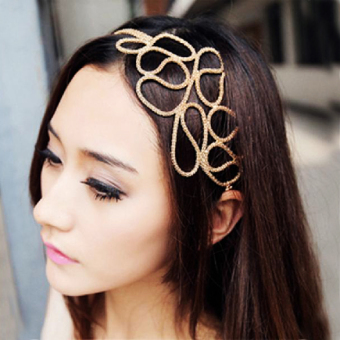 Harga Metallic Gold Braid Braided Hollow Elastic Stretch Hair Band Headband
