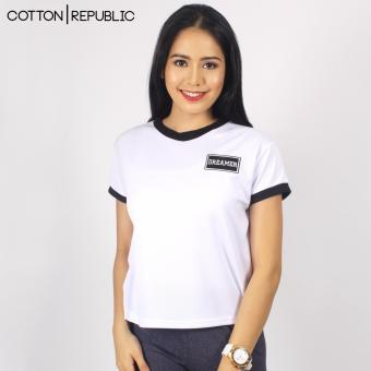 Cotton Republic POSH Crop/Sexy Top Patched Design - Dreamer (White) Price Philippines