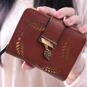 Harga YBC Fashion Female Short Wallet Hollow Gold Leaf Small Purse Coffee - intl