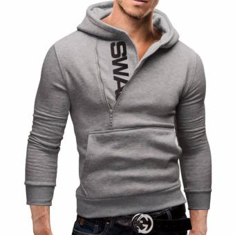 Harga Hot Sale Men's Casual Hoddies Plus Size Men's Hoodies Sweat Fashion Zipper Hoodies Coat (Grey) - intl