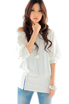 Cyber Women's Off Shoulder Blouses Shirt (White) Price Philippines